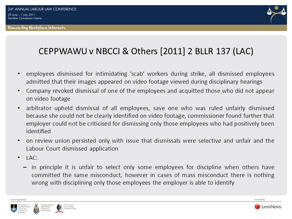 CEPPWAWU v NBCCI & Others [2011] 2 BLLR 137 (LAC)